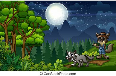 Night scene with two wolves at nature