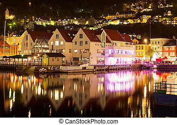 Night scenery of Bergen, Norway