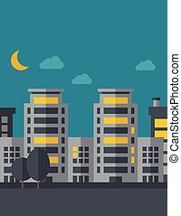 Night scenery of building city with moon