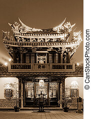 Night scenery of chinese traditional old temple.