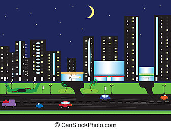 Night scenery of city with moon
