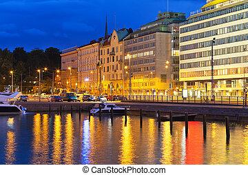 Night scenery of Helsinki, Finland - Scenic night view of...