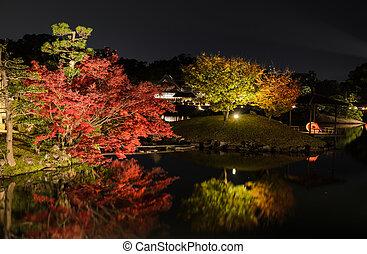 Night scenery of Korakuen garden in Okayama, Japan