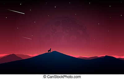 Night scenery of the howling wolf to the moon