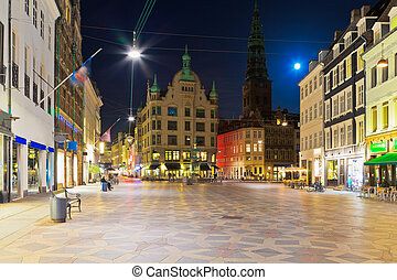 Scenic night view of the Old Town in Copenhagen, Denmark