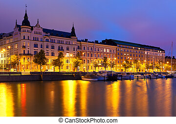 Scenic night panorama of the Old Town in Helsinki, Finland
