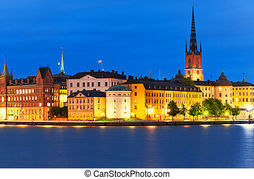 Night scenery of the Old Town in Stockholm, Sweden
