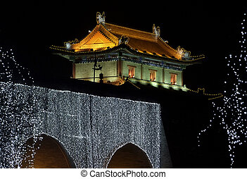 night scenery showing part of the illuminated city wall of Xian in China