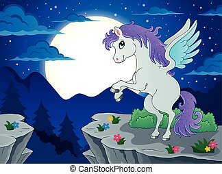Night scenery with pegasus - eps10 vector illustration.