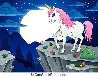 Night scenery with unicorn