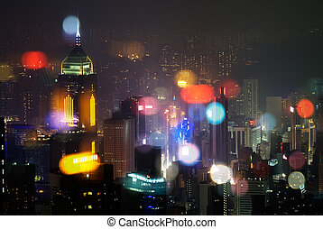 Night scenes of modern skyscraper in Hong Kong