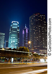 night scenes of skyscraper with light and motion blurred