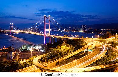 night scenes of Tsing Ma Bridge in Hong Kong