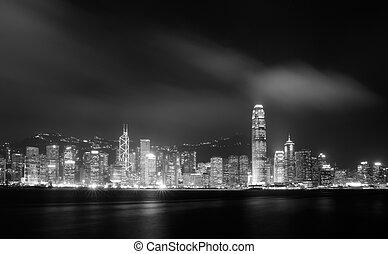 Night scenes of Victoria harbor in Hong Kong