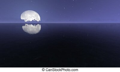 Night sea with moon realistic footage