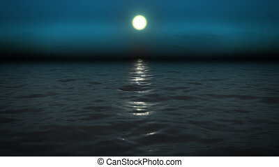 Night sea with moon