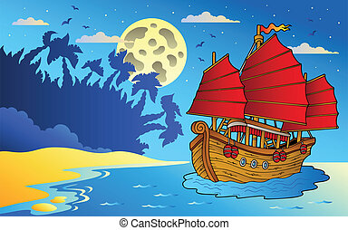 Night seascape with Chinese ship - vector illustration.