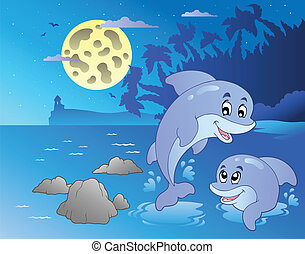 Night seascape with happy dolphins - vector illustration.