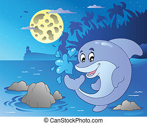 Night seascape with jumping dolphin - vector illustration.