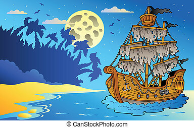 Night seascape with mysterious ship