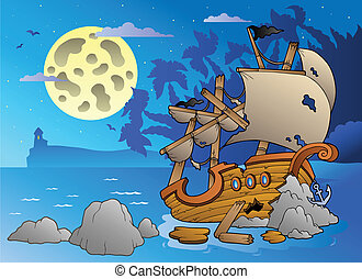 Night seascape with shipwreck - vector illustration.