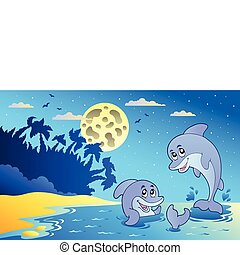 Night seascape with two dolphins - vector illustration.
