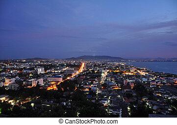 Night seaside city at Songkha, thailand