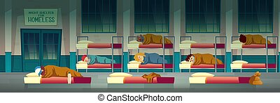 Night shelter for homeless people cartoon vector