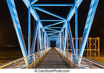 Night shot footbridge tollbooth Pont de Normandie, France