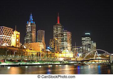Brisbane City - Night shot of Brisbane City along the River