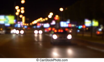 Night Shot Of Busy Street Traffic