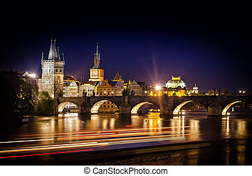 Night shot of Charles Bridge and river in Prague - Prague,...