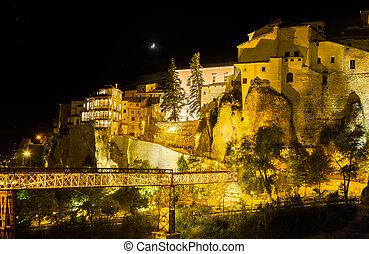 Night shot of Cuenca in Castilla-La Mancha, Spain