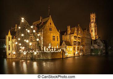 Night shot of historic medieval buildings in Bruges, Belgium...