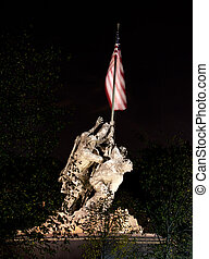 Night shot of Iwo Jima - Statue commemorating Iwo Jima at...