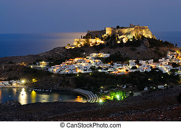 Night shot of Lindos town. Rhodes island, Greece