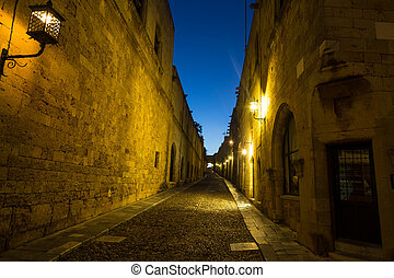 Night shot of old town streets, Rhodes Greece