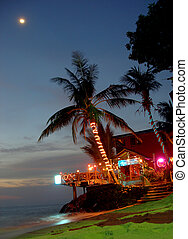 Koh Chang island - Night shot of the bar/restaurant on the...