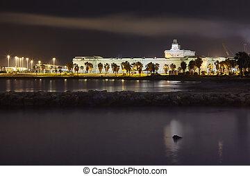 Night shot of the port of Civitavecchia.