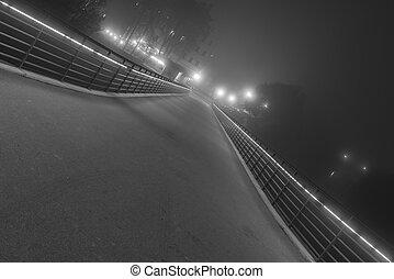 Night shot of the stone bridge in Regensburg with fog