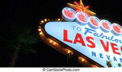 Night shot of Vegas sign - pan right (2 of 3)