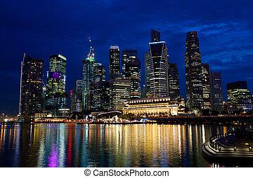 Night Singapore - Singapore city skyline at night