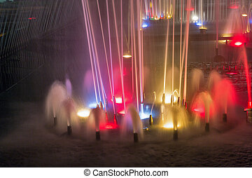 Night Singing fountain in Kosice Old Town, Slovakia.