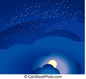 night sky and clouds. Vector illustration