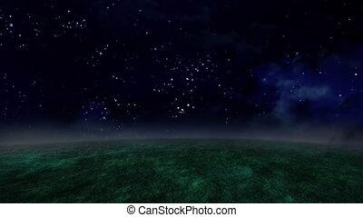 night sky and grassland time lapse