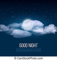 Night sky background, cloudy sky with moon.