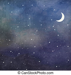 Night sky background. Grunge illustration