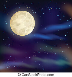 Night sky with full moon and sparkling stars on dark background vector illustration