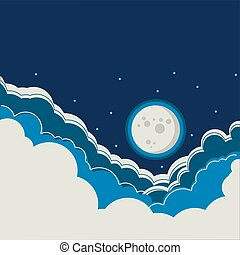 Night sky background with full moon and clouds