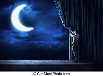 Night sky behind curtain